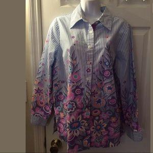 BOB MACKIE Floral Button Down Blouse Shirt